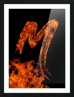 Burning on Fire Letter M Picture Frame print