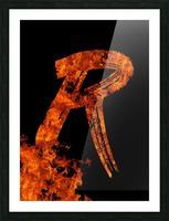 Burning on Fire Letter R Picture Frame print