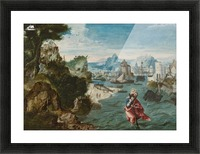 A man with a child in the river Picture Frame print
