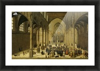 Church interior with Christ preaching to a crowd Picture Frame print