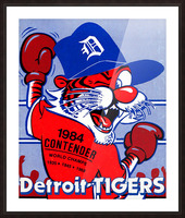 vintage detroit tigers poster retro sports art 1980s posters Picture Frame print