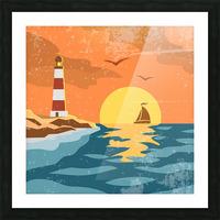 sea retro poster Picture Frame print