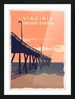 virginia retro poster usa virginia travel illustration united states america Picture Frame print