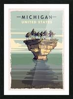 michigan retro poster usa michigan travel illustration united states america Picture Frame print
