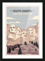 south dakota retro poster usa south dakota travel illustration united states america Picture Frame print