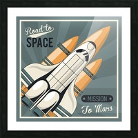 Life space poster with mars rocket rockets vintage Picture Frame print