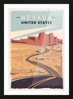 nevada retro poster usa nevada travel illustration united states america Picture Frame print