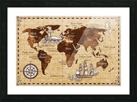 Vintage old classic antique retro map Picture Frame print