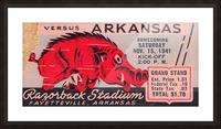 1941 Arkansas Razorbacks Ticket Stub Art Picture Frame print