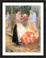 Woman sells flowers by Hassam Picture Frame print
