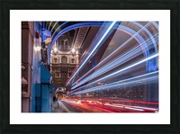 Light trails along Tower Bridge London Picture Frame print