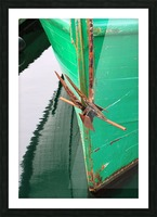 Green Fishing Boat and Anchor In Harbour Picture Frame print