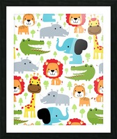 seamless pattern vector with animals cartoon Picture Frame print