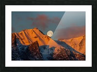 Super Moon Setting Behind Rundle Mountain Picture Frame print