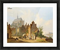 Continental Town Scene with Figures beside a Horse and Cart in a Sunlit Street Picture Frame print