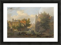 View of a town with figures in conversation Picture Frame print