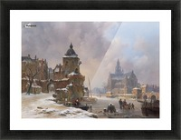 Winter cityscape with frozen river Picture Frame print
