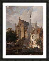 Het uitgaan van de kerk in Leiden Picture Frame print