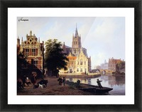 City view with canal Sun Picture Frame print