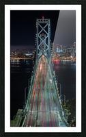 Oakland - San Francisco Bay Bridge at Night Picture Frame print