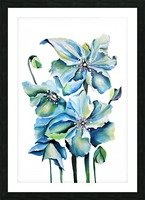 Blue Poppies Watercolor Picture Frame print