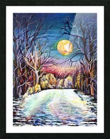 Winter Full Moon Night Landscape Watercolor Picture Frame print