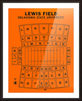 vintage college football stadium maps lewis field oklahoma state university osu cowboys Picture Frame print