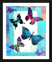 Whimsical Morpho Butterflies in Vivid Colors Picture Frame print