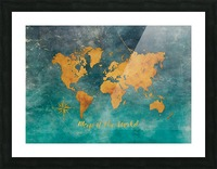 World Map 3 Picture Frame print