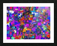geometric square shape pattern abstract background in pink blue orange Picture Frame print