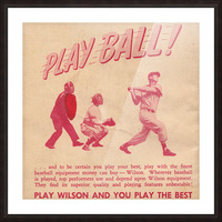 1951 vintage wilson baseball ad play ball Picture Frame print
