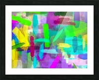 splash brush painting texture abstract background in green blue pink purple Picture Frame print