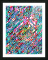 geometric square pixel pattern abstract background in blue pink Picture Frame print