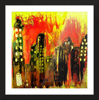 City on fire Picture Frame print