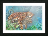 Gorgeous leopard resting in the jungle during the day Picture Frame print