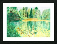 Wallington Hall pond Picture Frame print