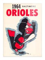1964 baltimore orioles vintage baseball art poster Picture Frame print