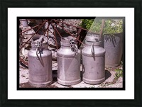 rustic milk cans Picture Frame print