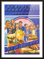1980 kentucky wildcats basketball poster ted watts sports artist Picture Frame print