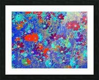 Cosmos Flowers Blue Red Picture Frame print