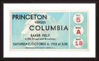 1934 Princeton vs. Columbia Lions Football Ticket Wall Art Picture Frame print