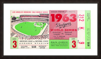 1963 world series ticket stub art la dodgers home decor Picture Frame print