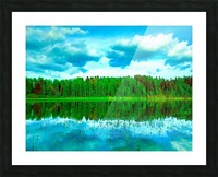 Forest beyond the lake Picture Frame print