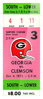 1975 college football clemson georgia bulldogs sanford stadium athens ticket stub canvas Picture Frame print