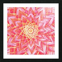 Red Flower Mandala Handdrawing  Picture Frame print