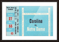 1952 north carolina tar heels notre dame irish college football sports ticket art south bend indiana Picture Frame print