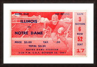 1941 illinois illini notre dame irish college football ticket sports wall art south bend indiana Picture Frame print