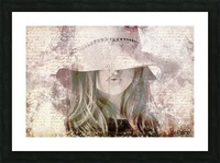 Lovely Girl with Hat on Vintage paper Picture Frame print