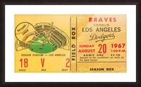 1967 la dodgers atlanta braves baseball sports ticket art  Picture Frame print