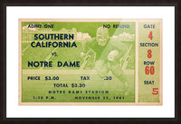 1941 usc notre dame football ticket wall art sports gift ideas south bend indiana Picture Frame print